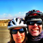 biking the dead sea; israel; cycling; smiling