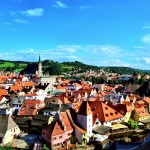 we stopped in cesky krumlov czech republic on our bicycle tour from prague to dubrovnic; vienna prague greenways; bicycle touring eastern europe; two wheel travel