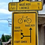 Bike route sign in Czech Republic; Tabor; bike touring; Vienna-Prague Greenways