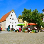 Ceske Budejovice, Czech Republic; farmer's market; bicycle touring; two wheel travel
