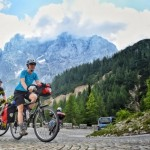 bicycle touring slovenia; Climbing Vršič Pass on loaded touring bikes; Two Wheel Travel