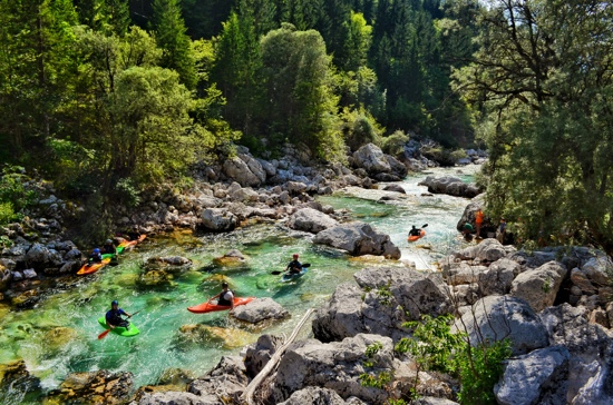 kayakers on the Soca River
