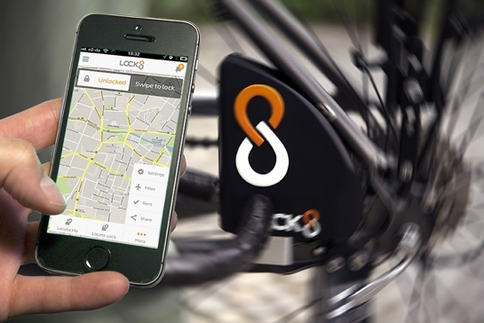 Lock 8 keyless bicycle locking and unlocking with a smartphone app