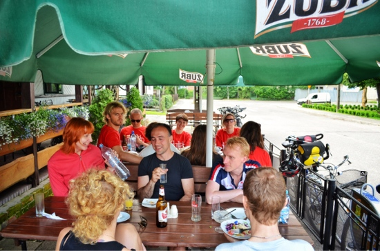 Bicycle tourists are slow and hungry. Eating lunch at a local restaurant while on a bike tour.