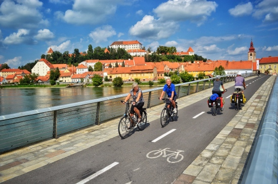 Bike bridge in Ptuj Slovenia encourages bike tourism