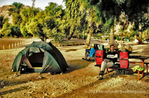 bicycle camping at dead sea israel