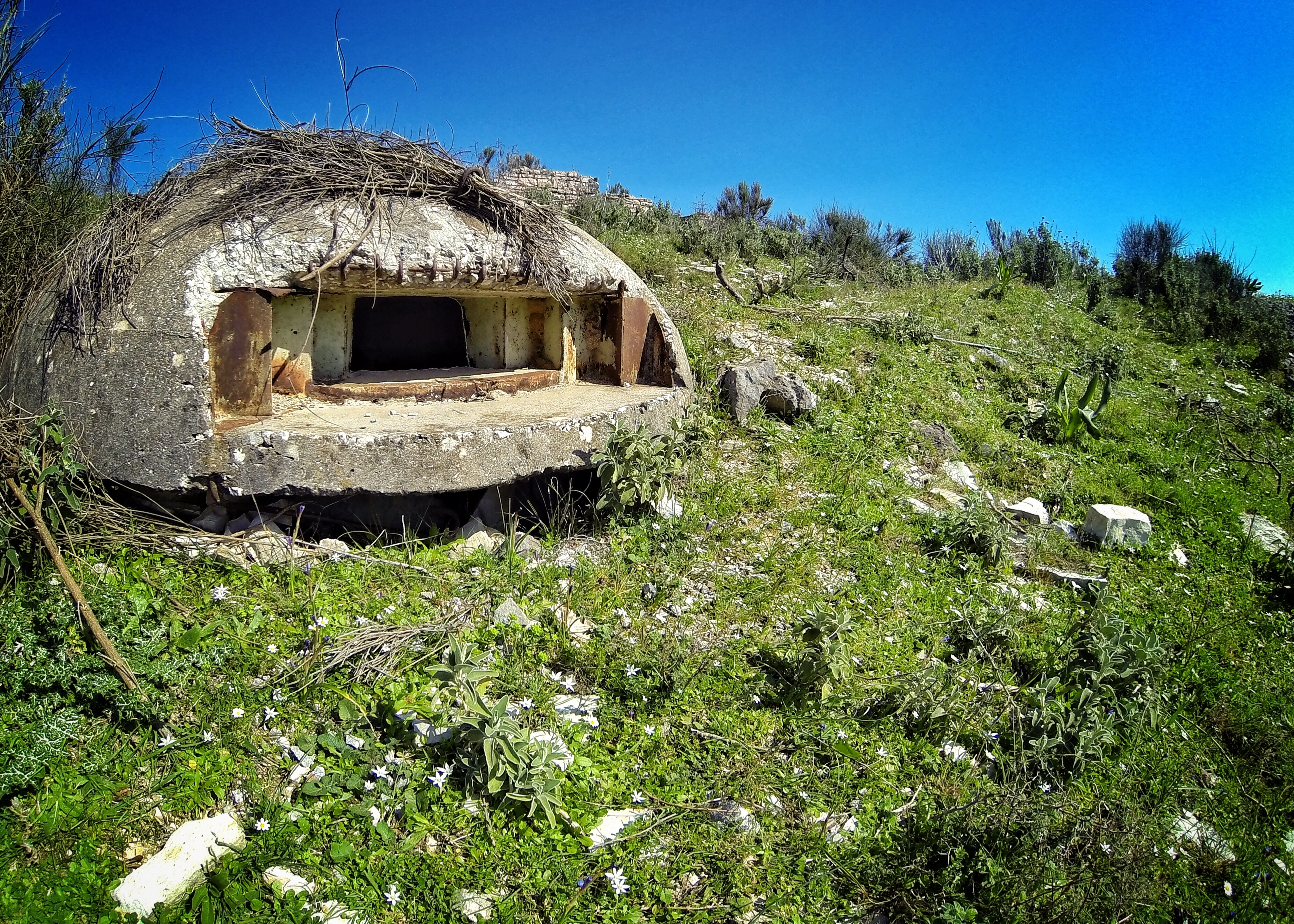 Bicycle touring Albania you will see gun bunkers at every turn