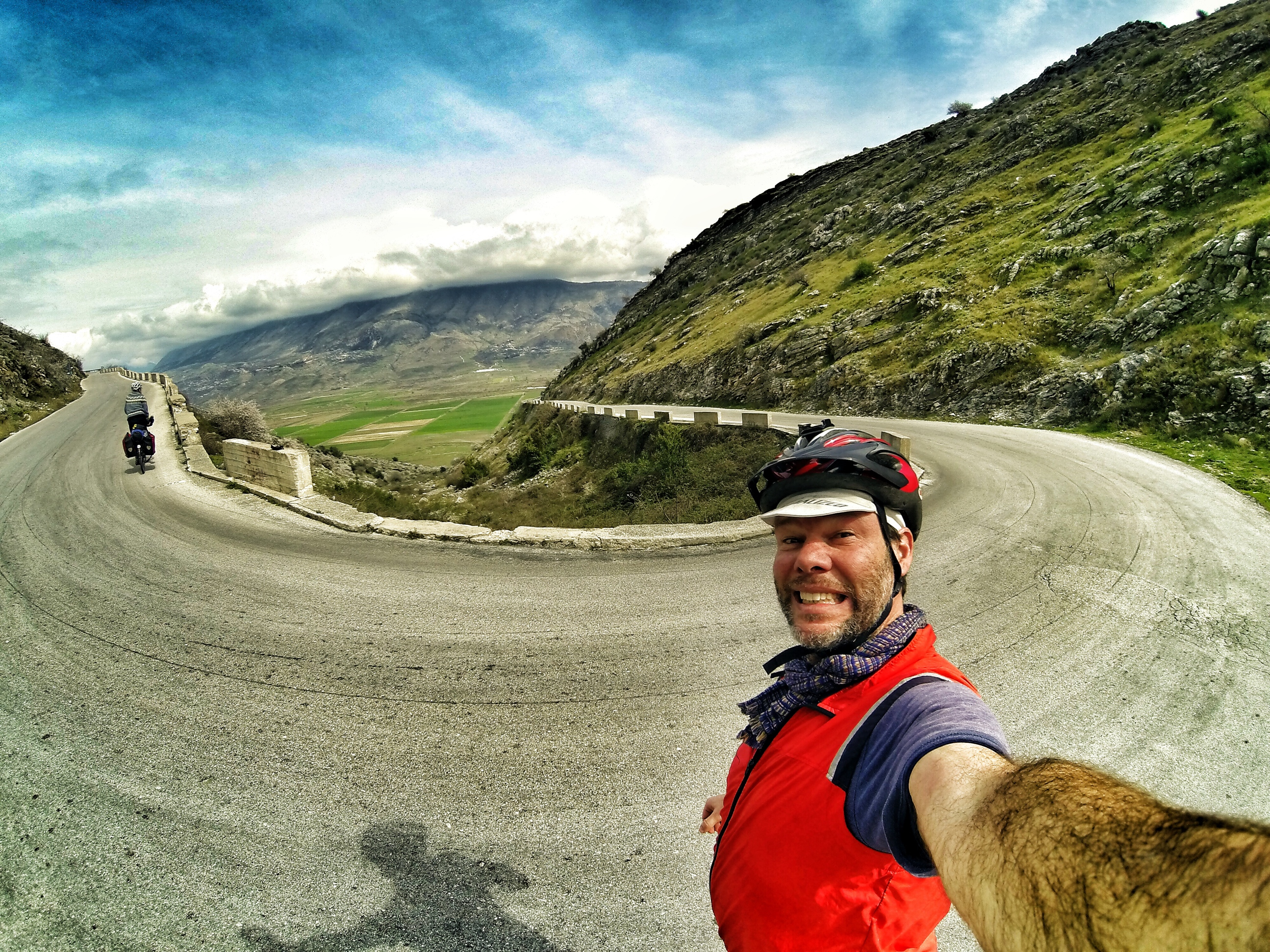 Bicycle Touring Albania. Climbing from Gjirokaster to Sarande