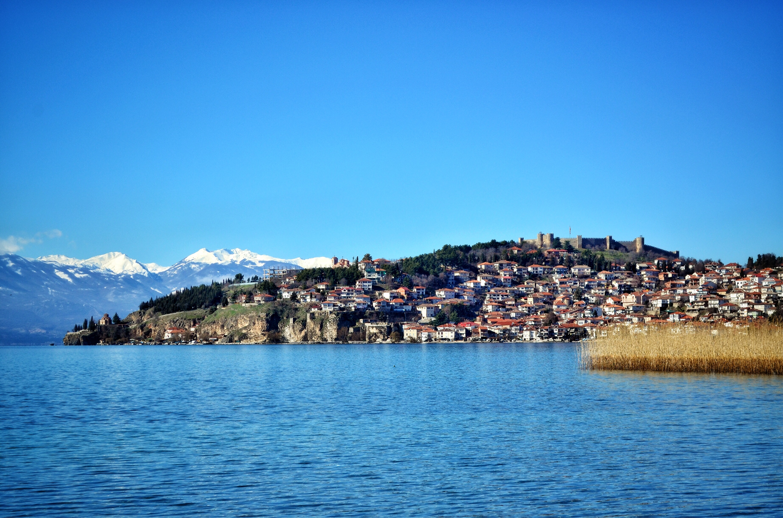 Lake Ohrid Macedonia is a great starting point for bicycle touring into Albania